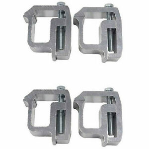 4 Sliver Truck Rack Shell Clamps Powder Coated Mounting Clamps For Truck Caps