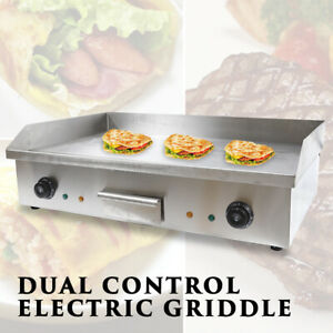 Electric Countertop Grill Griddle Flat Top Thermostatic Control Commercial Bbq D