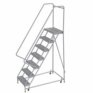 7 step Aluminum Rolling Ladder W ribbed Steps casters 16inwx14ind Plat 350lb Cap