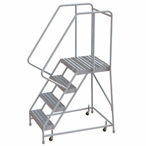 4 step Aluminum Rolling Ladder W ribbed Steps casters 16inwx21ind Plat 350lb Cap