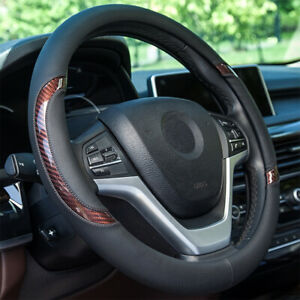 Brown Steering Wheel Cover Universal Fit Protection Leather Breathable Anti Slip