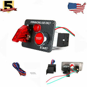 Racing Car Ignition Switch Panel Led Engine Start Push Button Toggle Carbon Usa