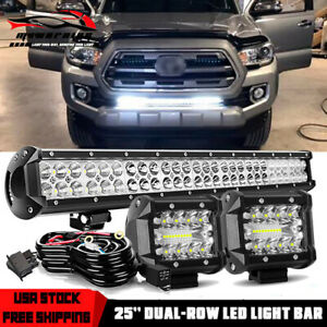 25 Led Light Bar Lower Bumper Hidden Combo Spot Flood For Toyota Tacoma Tundra