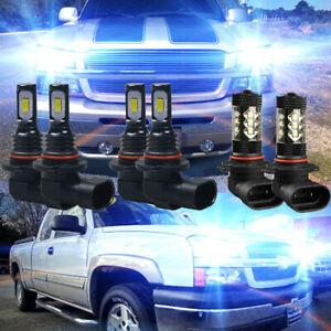 For Chevy Silverado 1500 2500 3500 2003 2006 8000k Led Headlight Fog Light Bulbs