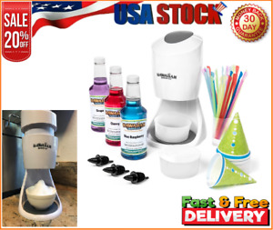 Hawaiian Electric Shaved Ice Snow Cone Machine With 3 Flavor Syrup Accessories