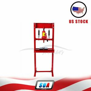 12 Ton Shop Press Hydraulic Jack Bench Top Mount H Frame Plates Manual Equipment