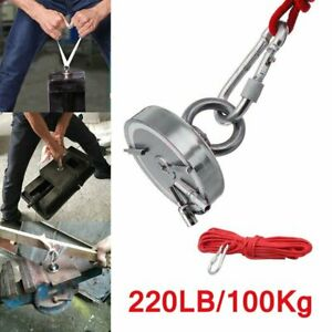 220lb Fishing Magnet Kit Strong Neodymium Pull Force Treasure Hunt With 10m Rope