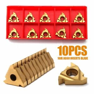 10pcs set 16ir Ag60 Cnc Inserts Blade Lathe Carbide Thread Cutting Turning Tool