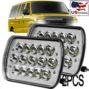 Pair 7x6 Cree Led Headlights Sealed Hi Lo Beam H6054 For Ford E 150 E 250 E 350
