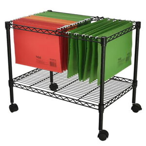 2 Tiers Layer Metal Rolling Mobile File Cart Office Supplies W Wheels Black Us