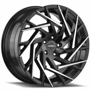Strada S64 Nido 22x9 5x114 3 35 Black Machine Tips Wheels 4 72 6 22 Inch Rims