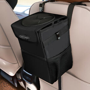Car Trash Can With Lid Garbage Bag For Vehicle Portable Leak Water Proof Black