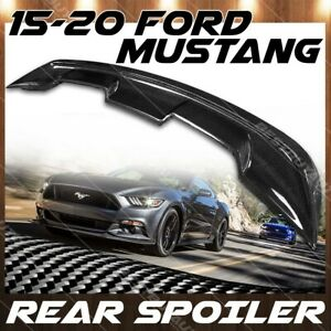 For 15 20 Ford Mustang Real Carbon Fiber Gt500 Style Rear Pedestal Spoiler Wing