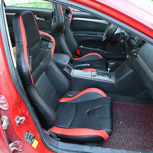 1 Pair Universal Car Racing Seats Pu Leather Car Sports Seats W sliders Black