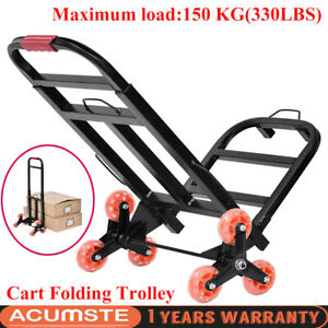 330 Lbs Cart Folding Dolly Collapsible Trolley Push Hand Truck Moving Warehouse