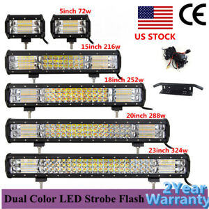 Amber white Dual Color Tri Row Led Strobe Light Bar 5 15 18 20 23inch Offroad Us