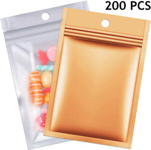 200 Resealable Mylar Food Storage Zip Lock Bags Smell Proof Aluminum Foil Pouch