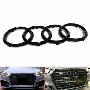 Black Bright Front Grille Ring Logo Emblem Fit For Audi A3 A4 S4 A5 Rs 285x97mm