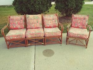Vintage Rare Bamboo Rattan Patio Sun Room Set Four Pieces And Cushions