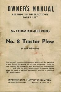 International Vintage 8 Tractor Plow Owner s Parts Manual 1947