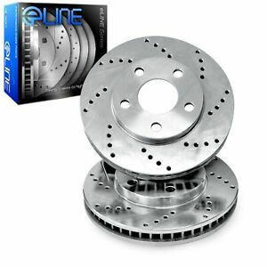 Front R1 Concepts Eline Cross Drilled Slotted Brake Rotors