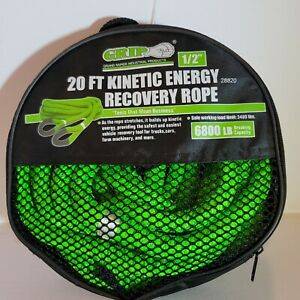 Grip 1 2 X 20 Kinetic Energy 4x4 Truck Tow Recovery Rope 6 800lb Strap Snatch