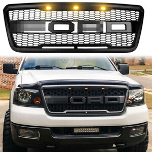 For 2004 2008 Ford F150 Raptor Style Conversion Front Mesh Hood Grill W Led Oem
