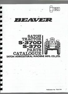 Satoh Mitsubishi Beaver S370 S370d Tractor Parts Manual Catalog