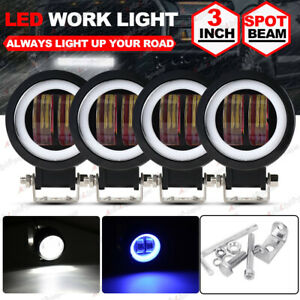 4x 3inch Led Work Light Bar Spot Pods Driving Fog Blue Halo Offroad Atv Suv 4wd