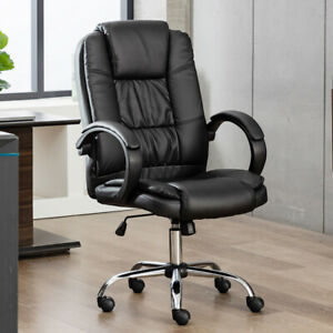 Executive Office Chair Pu Leather Padded Swivel Recliner Computer Gaming Seat Us