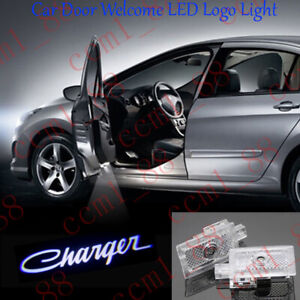 New 2x White Led Car Door Ghost Logo Projector Puddle Lights For Dodge Charger