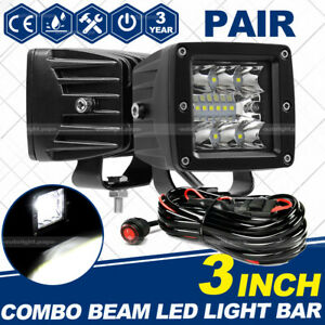 2x 3inch 200w Cube Pods Cree Led Work Light Driving Fog Spot Light Flood Wire