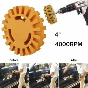 4 Decal Removal Eraser Wheel Power Drill Adapter Rubber Pinstrip 4000rpm Round