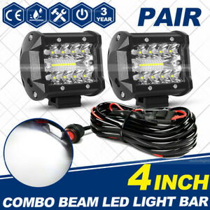 4inch Led Work Light Bar 4wd Offroad Spot Pods Fog Atv Suv Driving Lamp Wire