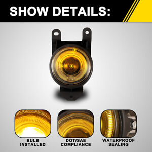 Fog Lights For 01 05 Gmc Yukon Denali Factory Replacement Halo Lamps Yellow Lens