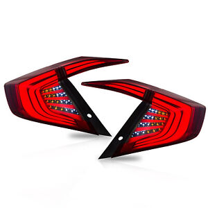 Customized Red Smoked Led Tail Lights Assembly Fit For 2016 2017 Honda Civic