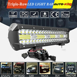 12 Inch Cree Led Work Light Bar Flood Spot Combo Offroad Driving Lamp Wiring