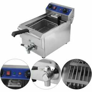 13l Electric Deep Fryer Commercial Restaurant With Frying Basket Lid 1650w