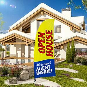 Qsum Open House Swooper Flag And Pole Kitreal Estate Signs Advertising Feathe