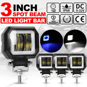 4x 3 Inch Cube Led Work Light Bar Spot Pods Driving Fog Halo Off Road Truck 4wd
