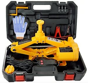 12v 3 Ton Automotive Electric Scissor Car Jack Floor Lift W Case And Wrench