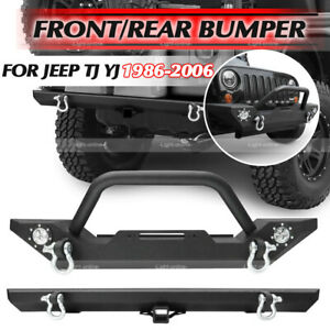 For 87 06 Jeep Wrangler Yj Tj Front Rear Bumper D Ring Winch Plate Led Lights