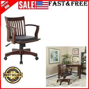 Office Star Deluxe Wood Bankers Desk Chair With Black Vinyl Padded Seat Espress
