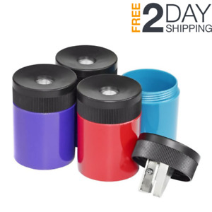 Compact Metal Pencil Sharpener Colorful Portable Screw on Lid Office tool School