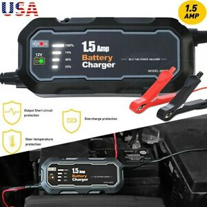 Universal Car Motorcycle Battery Charger Float Trickle Maintainer 12v 1 5amp Usa