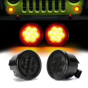 2x Amber Front Led Turn Signal Light Grill Smoke Lens For Jeep Wrangler Jk 07 17