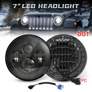 Black 7 Inch Round Led Headlight Hi lo Beam For Jeep Wrangler Jk Tj Lj Cj 97 18