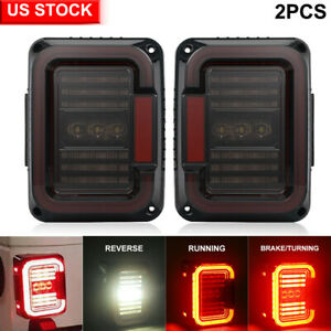 For Jeep Wrangler Jk Jku 07 17 Tail Lights Smoke Led Rear Brake Turn Signal Lamp