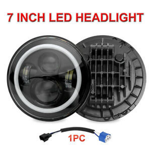 7 Inch Round Led Headlight Halo Angle Eye Drl Beam For Jeep Wrangler Jk Tj Lj Cj