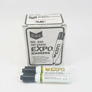 Expo Dry Erase Markers For Whiteboards 830 Black 12 Count New Old Stock